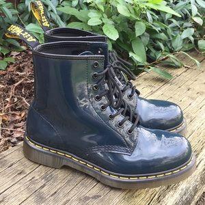 Dr Martens 1460 Patent Navy Blue Combat Boots